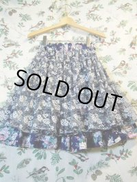 """""""funny dot CRAZY"""" vintage fabric フラワープリント×lace flowerティアードスカート"""