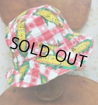 """funny dot CRAZY"" vintage fabric Bucket Hat 〜SMILE CORN〜"