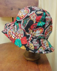 """funny dot CRAZY"" vintage fabric Bucket Hat B 〜pizza〜"