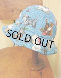 """funny dot CRAZY"" vintage fabric Bucket Hat B  〜pet〜"