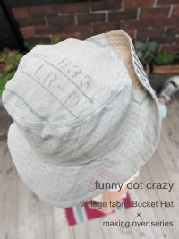 """funny dot CRAZY"" vintage sack Bucket Hat 〜stencil〜"