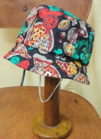"""funny dot CRAZY"" vintage fabric Bucket Hat KIDS 〜pizza〜"