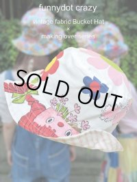 """funny dot CRAZY"" vintage fabric Bucket Hat 〜Braid Girl×Flower&Animal〜"