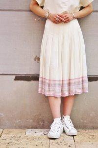 Vintage Skirt〜オフホワイト&ピンク×ボーダー×タック〜