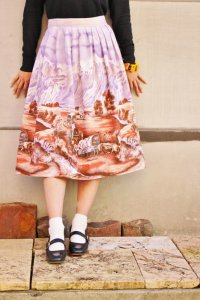 '50s  Vintage Skirt 〜パープル×牛×風景〜