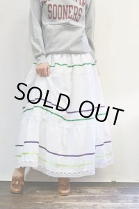'70s Vintage Skirt〜MADE IN MEXICO×コットン×ティアード×サテンリボン&レース〜