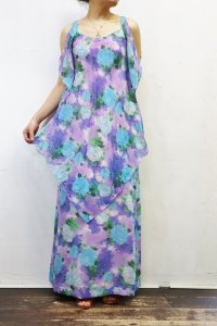 '70s Vintage Dress 〜MADE IN FRANCE×シアー×ブルーローズ〜