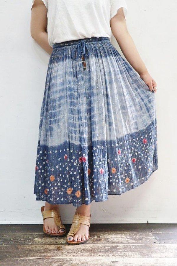 画像1: Vintage Skirt 〜フラワー×ラメ×鈴紐〜