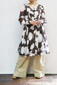 '70s Vintage Dress 〜シアー×フラワー×ダークブラウン〜
