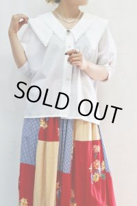 Vintage Blouse 〜MADE IN WEST GERMANY×ホワイト×ビッグカラー×シェル型ボタン〜