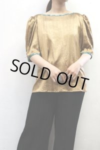 """'80s Vintage Blouse """"JEANNE MARC""""〜MADE IN USA×ゴールド×クリンクル〜"""
