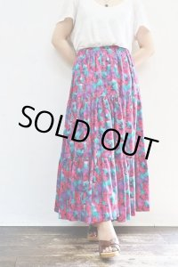 Vintage Skirt〜MADE IN USA×コットン×ローズ×ティアード〜
