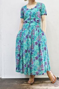 Vintage Dress 〜MADE IN INDIA×レーヨン×フラワー〜