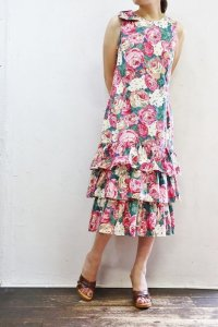 Vintage Dress 〜MADE IN USA×コットン×ローズ×ティアード〜