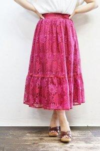 Vintage Skirt 〜総レース×ワインレッド〜