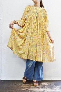 Vintage Dress 〜インド綿×フラワー&バタフライ×ギャザー〜