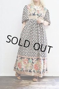 Vintage Dress 〜MADE IN INDIA×コットン×フラワー×Aライン〜
