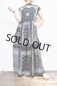 Vintage Dress 〜Amy Nina×バンダナパッチワーク×ブラック〜
