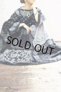 Vintage Dress 〜Amy Nina×バンダナパッチワーク×ブラック&グレー〜