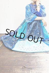 Vintage Dress 〜Amy Nina×バンダナパッチワーク×ブルー〜