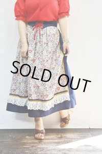 Vintage Skirt 〜MADE IN West Germany×コットン×フラワー×ベルト付き〜
