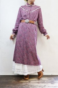 Vintage Dress〜MADE IN SWISS×リーフ×ヨーク切替×レース〜