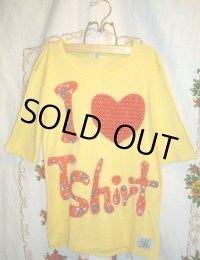 """funny dot CRAZY"" パッチワークT-shirt"